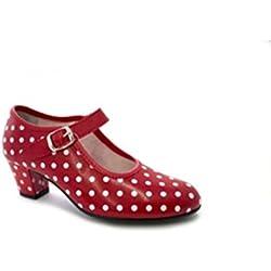 MADE IN SPAIN Zapato Baile sevillanas Flamenco Lunares Blancos Para Niña o Mujer Danka EN Rojo T1551 Talla 31