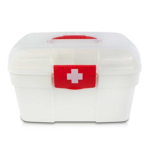 VENKON - Medizinbox Sortierkasten für Medikamente Organizer Erste Hilfe Box Hausapotheke - weiß