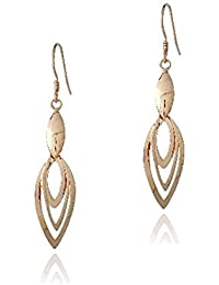 Rose Gold Tone Over Sterling Silver Three Marquise Dangle Earrings