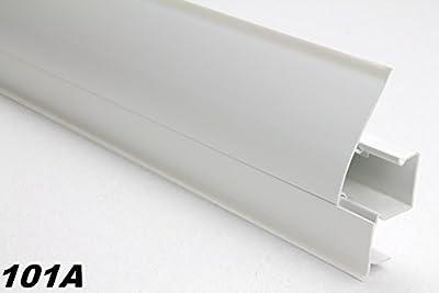 10 Meter PVC Sockelleisten Modern, Fußleisten, Kabelkanal, Sockel 23x65mm, 101A von Lemal bei TapetenShop