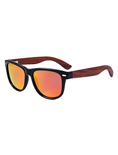 Amexi Polarisierte Sonnenbrille, Retro Bambus Sonnenbrille für Damen und Herren, UV400, mit Brillen-Etui, Schraubenzieher, Brillen tuch und Tasche (Orange)