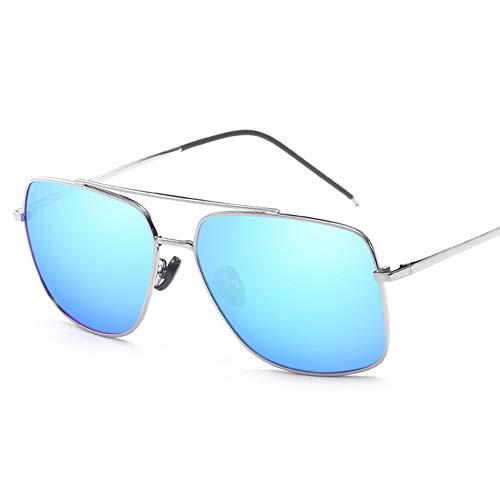 ZHANGQXIA Sonnenbrille Herren Pilotenbrille Herren, Pilotenspiegellinse Polarisierte Sonnenbrille, Unisex Retro-Objektiv 100% UV-Schutz 400,Blue