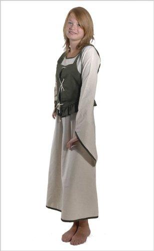 (Bäres Mittelalter Kleider kleine Maid - Kinder Marktkleid - Kinder Coleen für 12-14 jährige/natur / olive)