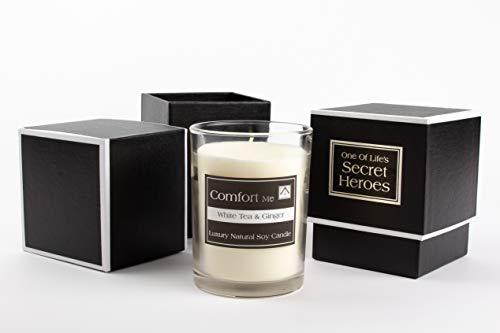 Premium Duft Sojawachs Vegan Kerzen mit Inspiriert Zitat durch NN Inspirierende-Geschenke-Vielzahl von Düfte & Scents-White Tea & Ginger Classy & Elegante Geschenkbox Set Dekor Idee -