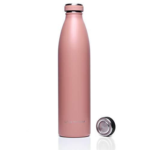 LARS NYSØM Edelstahl 1 Liter Trinkflasche Elements mit Ersatzdeckel | BPA-freie Isolierflasche | Auslaufsichere Wasserflasche für Sport, Fahrrad, Hund, Baby, Kinder