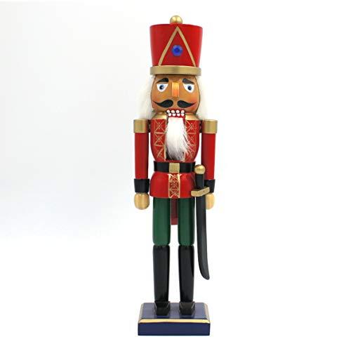The Christmas Workshop 81550 Holz-Nussknacker auf Ständer, 35,5 cm groß, Mehrfarbig