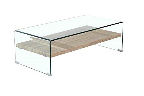 Meubletmoi Table Basse en Verre trempé - avec étagère en Bois Decor chêne - Design Moderne - Ice
