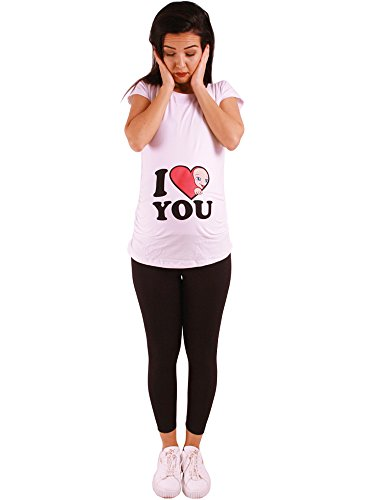 M.m.c. i love you - premaman abbigliamento donna magliette premaman t-shirt divertente gravidanza - maniche corte maternità (bianco, x-large)