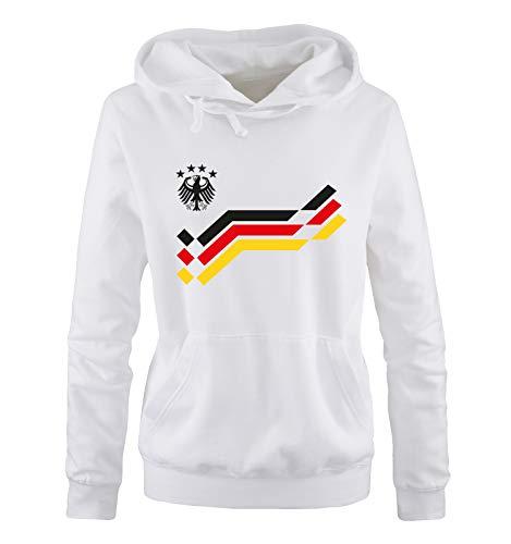 Comedy Shirts EM 2016 - Deutschland - Retro - Trikot - Damen Hoodie - Weiss/Schwarz Gr. M
