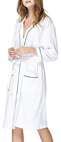FLYCHEN Donna Accappatoi 100% Cotone Pigiami e camicie da notte Bianco