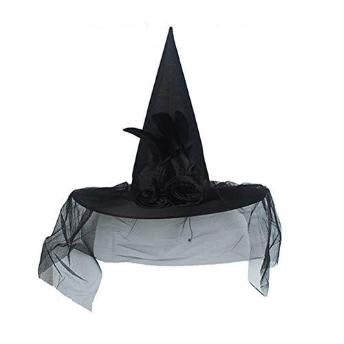 ZGHMXDD Erwachsene Kinder Hexen Hüte Mit Web Schleier Cusp Hüte Für Damen Halloween Kostüm Kopfbedeckungen Rose Halloween Zubehör (Black Rose Hexe Kostüm)