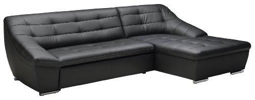 Polsterecke Lucas/3er-Longchair/287x81x165 cm/Kunstleder Bison schwarz