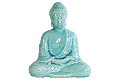 Urban Trends Keramik Meditierender Buddha Figur mit abgerundeten Ushnisha in Dhyana Mudra-Glanz-Finish Sky Blue, Sky Blue (Sky Blue Finish)