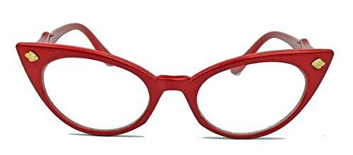 50er Jahre Katzenaugen Brille Cat Eye Modell Klarglas Mode-Brille oder Sonnenbrille C95 (Rot)