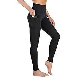 Gimdumasa Pantalón Deportivo de Mujer Cintura Alta Leggings Mallas para Running Training Fitness Estiramiento Yoga y Pilates GI188 (Negro, L)
