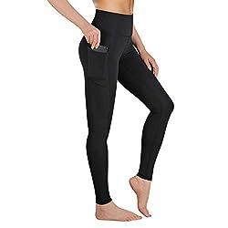 Gimdumasa Leggings Damen Fitness, Yogahose, Lange Blickdicht Yoga Hose Sporthose Fitnesshose mit Taschen GI188 (Schwarz, S)