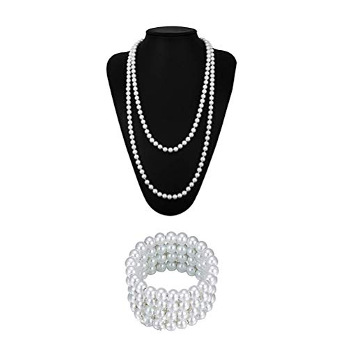 re Perlenkette und Armband Vintage Kostüm Schmuck Lange Halskette Mode Perlen Cosplay Zubehör für Frauen ()