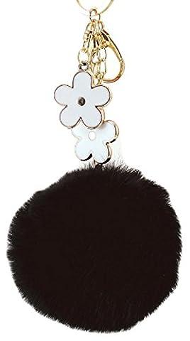 SaySure - Rabbit Fur Ball Flower Key Chains Rings Holder Bag