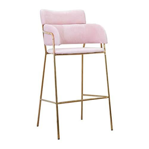 Moderne Barhocker Stuhl Fußstütze Barhocker Mit Rücken Armlose Seite Esszimmerstühle Metallbeine Küche Pub Bar Kaffee, Rosa ()
