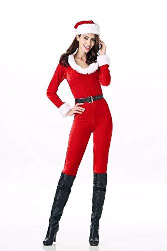 Erwachsene Weihnachtsmann Für Samt Anzug Kostüm - SDLRYF Weihnachtsmann Kostüm Weihnachten Kostüm Erwachsenen Weiblichen Cos-Ball Rot Gold Samt Weihnachtsmann Kleidung Kostüme
