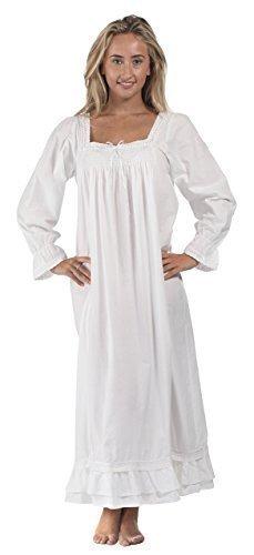 perThe 1 for U 100% cotone lunghezza intera camicia da notte - Martha - s-xxxxl - cotone, Bianco, 100% cotone, Donna, XX-Large