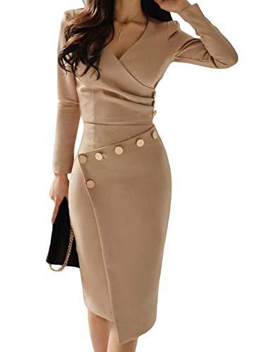 49b140e918 Aleumdr Vestito Donna Manica Lunga Abito Donna Invernale Scollo V Vestito  Donna Elegante Design Irregolare Abito da Cocktail Donna