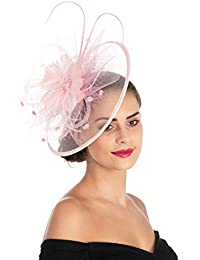 5050dd12fec75 Lucky Leaf Women Girl Fascinators Hair Clip Hairpin Hat Feather Cocktail  Wedding Tea Party Hat Church