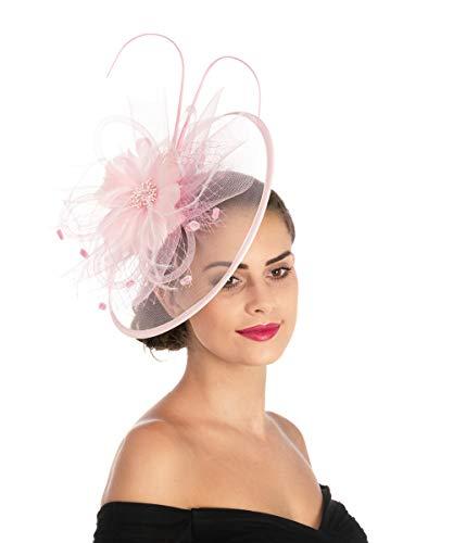 Lucky Leaf Fascinators Hut Blume Mesh Bänder Federn auf einem Stirnband und einem geteilten Clip Cocktail Tea Party Hochzeit Kirche Headwear für Mädchen und Frauen Braut(1-8-Rosa) -