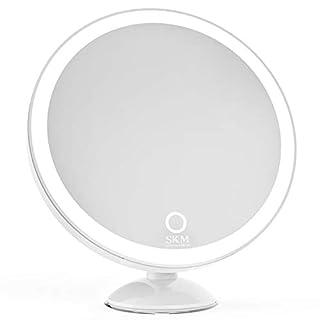 SKM Kosmetikspiegel rund LED Beleuchtung 360°drehbares Auflager mit 5X Vergrößerungslupe und Suagnapf (Weiß)