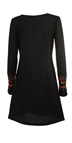 Coline - Robe pull ethnique Noir
