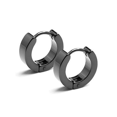 Ranikeer Ohrringe Herren Damen, Edelstahl Kreisbogen Ohrstecker für Männer Frauen, Cooler Stil Schmuck, schwarz (7)