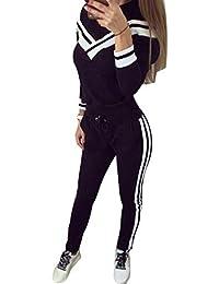 26d5aadeb7be Juleya Donna Tuta Sportiva Abbigliamento Sportivo 2 Pezzi Vestiti Set  Pullover a Maniche Lunghe + Pantaloni