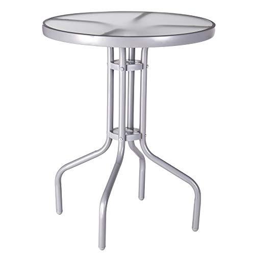 Mesa de jardín auxiliar de cristal y hierro gris
