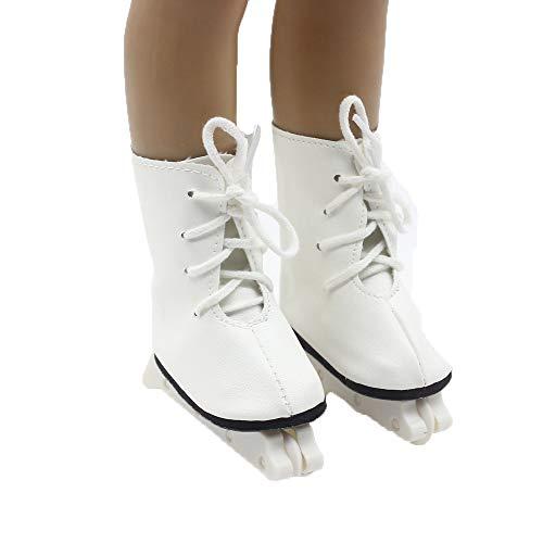 Puppe Mädchen Spielzeug Skate 18inch amerikanische Puppe Schlittschuhe (ohne Puppen) Weiß, Malloom Glitter Doll Roller Skates für 18 Zoll Unsere Generation for American Girl Doll Glitter Roller Schuh