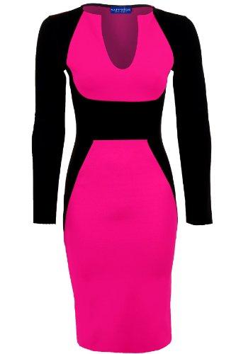 Damen Kleid Langarm V-Ausschnitt Kontrastfarben Midi Knielang Figurbetont Party Kleid Kirschrot