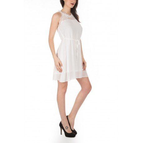 Ideal Shoes - Robe avec dentelle Ludmila Blanc