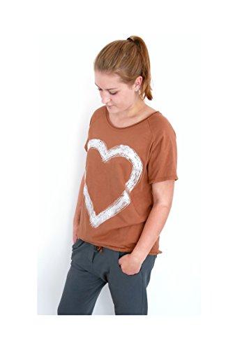 Damen T-Shirt Top Bluse Baumwolle Herz Print usedlook rost-braun silber maroon brown M L 38 40 42 Einheitsgröße (8257) (Maroon Herz Damen)