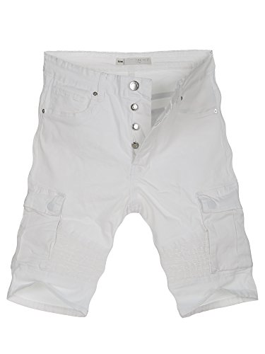L.A.B 1928 Cargo Shorts Herren Cargoshorts Kurze Hose Bermuda Sommer Joggjeans Jeans Weiß 8359 W38 (54) (Weiße Denim-jean-shorts)