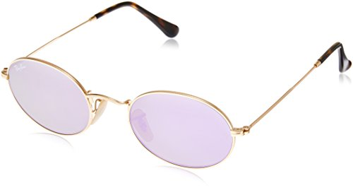Ray Ban Unisex Sonnenbrille Oval Flat Lenses, Gold, One Size (Herstellergröße: 48)