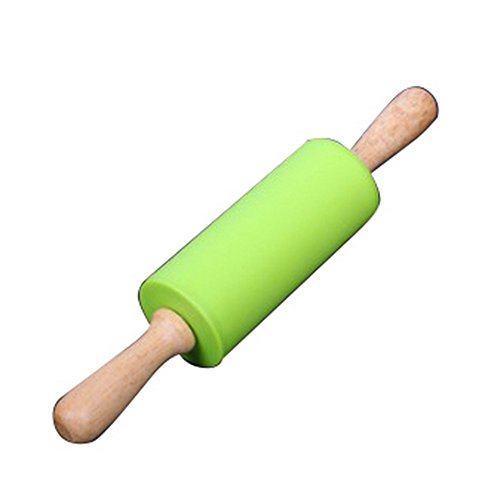 Dimart Non-Stick Wood Grip Silicone Rolling Pin for Bakers for Children Grip Non Stick Rolling Pin