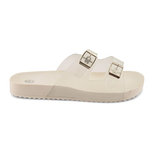 Footwear Sensation - Jelly Open Toe Mules donna Rosa (bianco)
