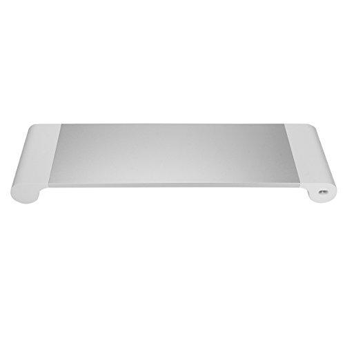 MECO Monitorständer Aluminium Monitor Bildschirm Bildschirmerhöher Tischaufsatz mit Schreibtischregal Notebook Stand mit 4 USB Anschluss 2.0 Hub Multimedia Ständer für PC, Laptop, iMac, Mac (Hinten Stand Standard)