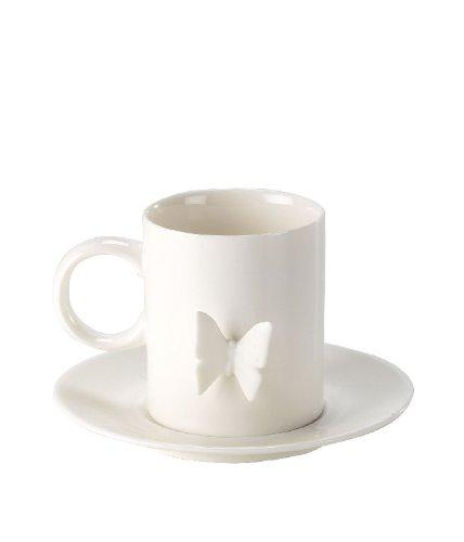 Tasse avec soucoupe Motif Papillon en Relief 3d - Porcelaine blanche