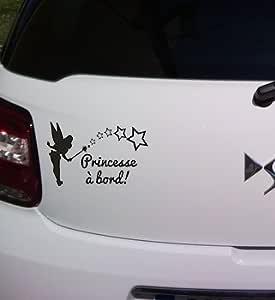 Sticker B/éb/é /à Bord Protection Anti UV Aspect Brillant Princesse /à Bord- Dimensions 15 x 9,5 cm Couleur Rose