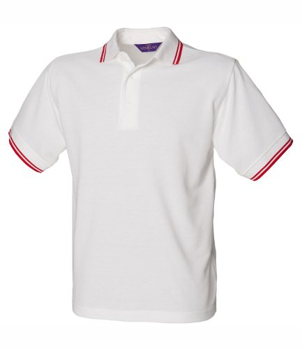 Henbury Herren Polo Shirt Tipped White Red Tipping