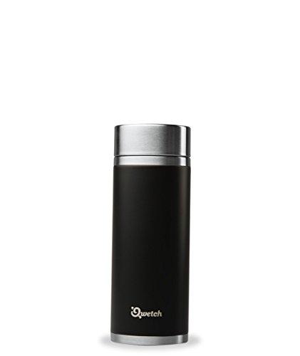 Qwetch Théière nomade isotherme inox 300 ml - Maintient vos boissons au chaud pendant 5 heures & au frais pendant 7 heures – BPA free – 2 filtres inclus – noir