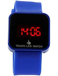 Reloj de mujer - SODIAL(R)Colorido unisexo LED Digital pantalla tactil Reloj de pulsera de silicona Azul