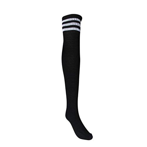Mädchen Sportsocken Transer® Knie-Lange Acrylfasern Draussen Fußball Basketball Baseball-Socken Strümpfe Größe: 66cm (schwarz) (Kinder-basketball-socken)