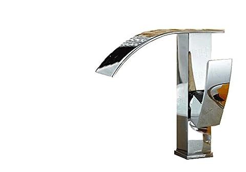 Sun-oil Frotté Bronze de salle de bain robinet de lavabo avec poignée simple Cascade Bec robinet mitigeur,