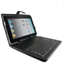 """10.1"""" Tablet funda con teclado integrado para 10/10 pulgadas Tablet PC - Cubierta protectora con teclado USB y soporte (negro)"""